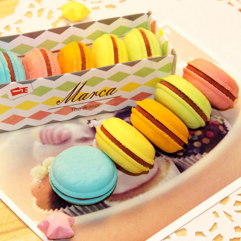 5 pçs/lote novidade macaron borracha eraser criativo kawaii artigos de papelaria para material escolar papelaria presente para as crianças(China (Mainland))