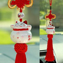Car Pendant Ornaments Lucky Cat Ceramic Jushi Car Accessories Dragon Cat Pendant