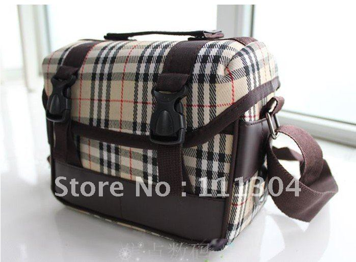 free shipping +tracking number 10pcs Japan and Korea lovely England grid SLR  camera bag for Canon Sony Fuji Nikon Panasonic<br><br>Aliexpress