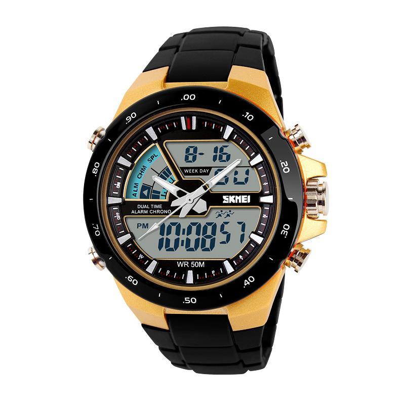 Luxury Men Sports Military Watch Fashion Casual Dress Wristwatches 30m waterproof 2 Time Zone Digital Quartz LED Watches(China (Mainland))