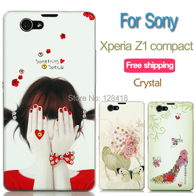 NEW crystal case for Sony_Xperia Z1 compact z1 mini/M51w/D5503 ultra thin phone case colorful rhinestone transparent back cover
