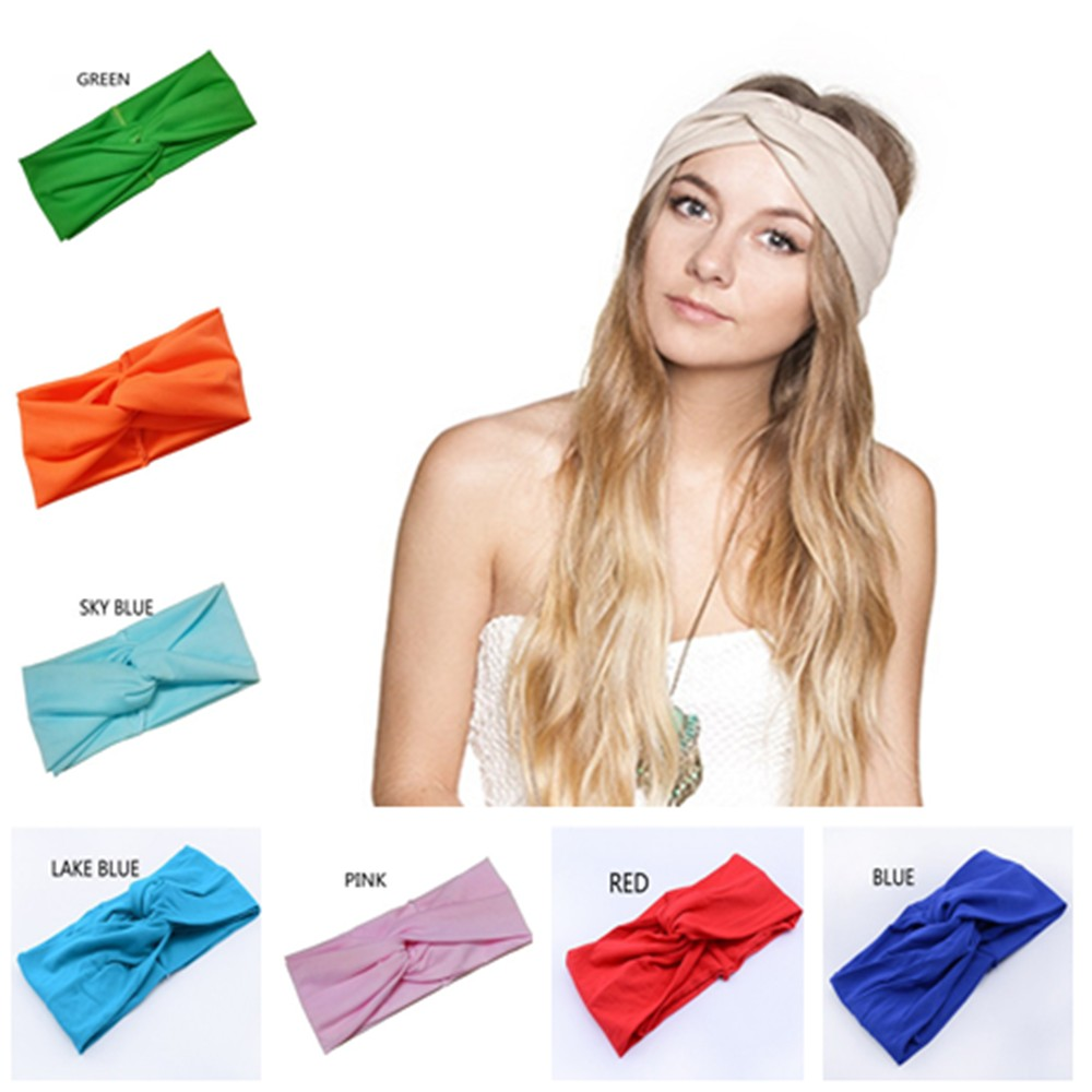 Hair Accessories Twist Elasticity Turban Headbands for Women Sport Head band Yoga Headband Headwear Hairbands Bows Girls LEN01(China (Mainland))