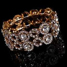 Buy Silver Wedding Bracelet Bridal Bracelet Gold rhinestones stretch Bracelet for $7.19 in AliExpress store