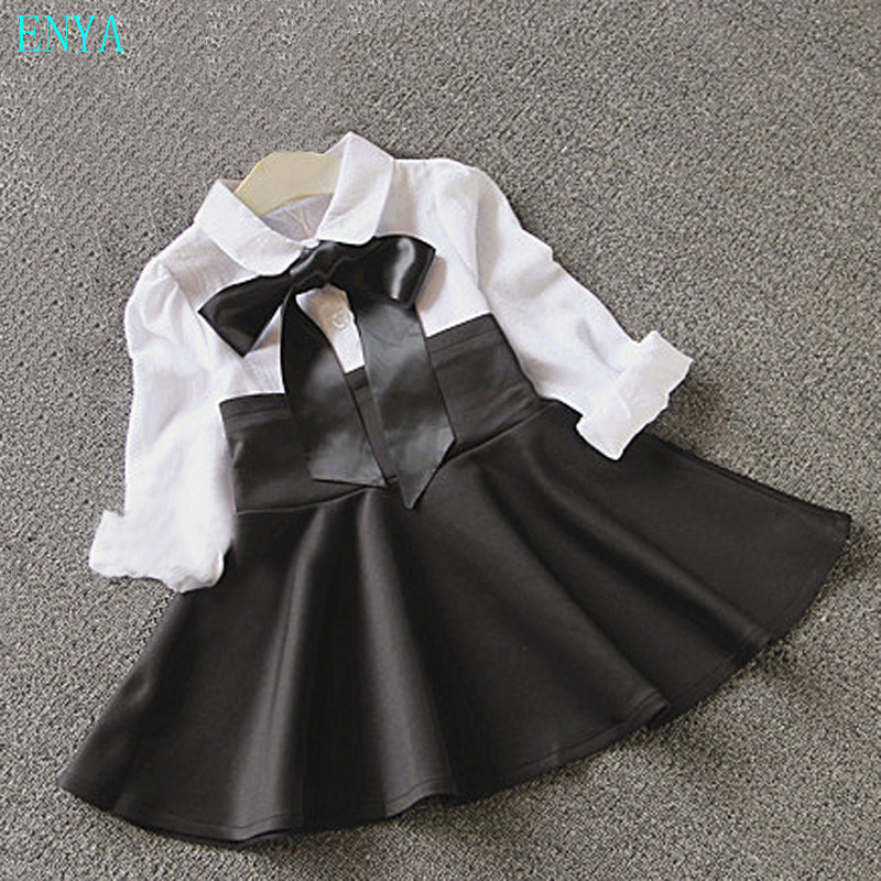 Baby girls splicing dress,children girls black and white bowknot pleated dress fashion kids girl princess clothes for 2-8Ys