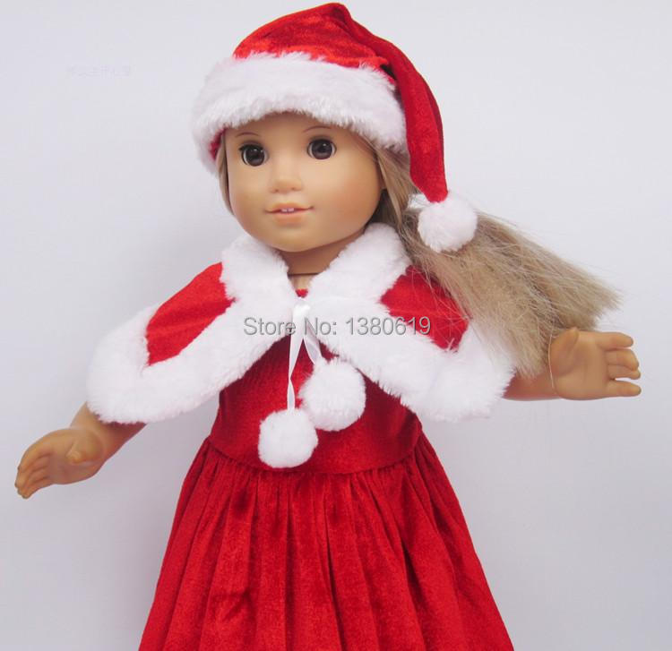 Free shipping!!! hot 2014 new style Popular 18 American girl doll clothes/dress  Christmas hat Christmas dress the dollw100<br><br>Aliexpress