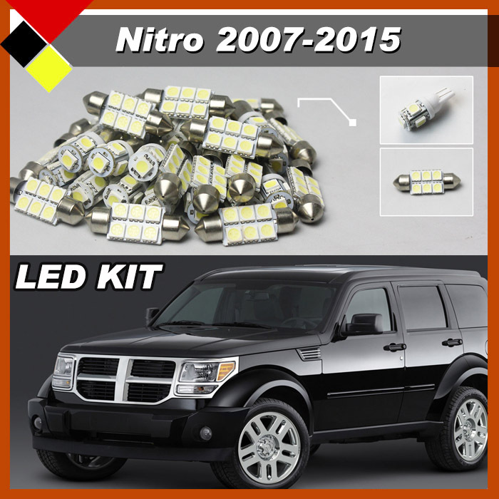 Truck Car White LED Interior Kit Package Bulbs 12V For Nitro 2007-2015 Courtesy License Plate Map Dome Bulbs Plug &amp; Play<br><br>Aliexpress