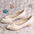Wedopus Women Wedding Shoes Ivory Peep Toe Slip on Satin Wedding Bridal Flats Shoes