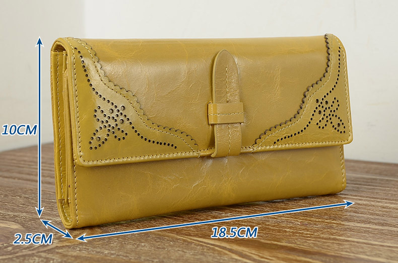 Imported Grain Leather Korea Style Burnished Leather Women's Long
