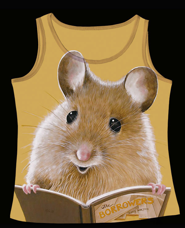 Track Ship+Fresh Printed Vest Top Tank Camis Little Cute Mouse Mice Rat Reading Fitmen Book 0664(Hong Kong)