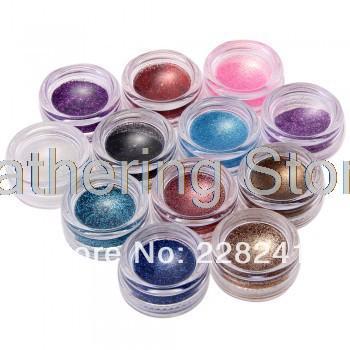 Set Glitter Powder Pure Nail Art Tips UV Gel Builder DIY Decoration 12 Pots(China (Mainland))