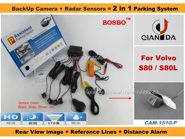 For Volvo S80 S80L - Car Parking Sensor+ Rear View Camera 2in1 Assistance System - 4 Radars(China (Mainland))