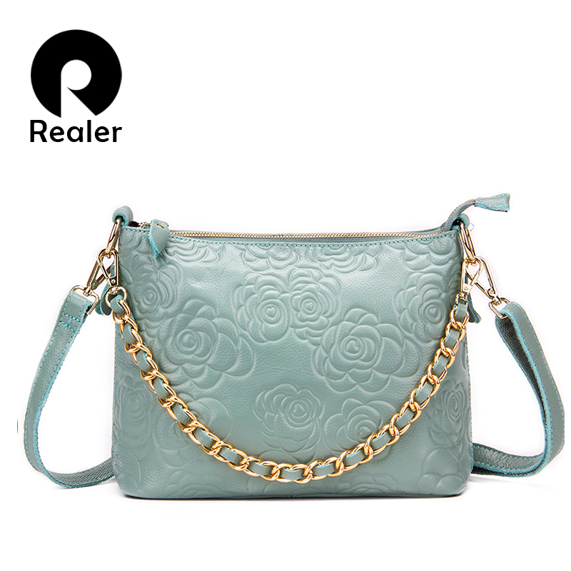 Realer Brand Women Genuine Leather Shoulder Bags With Chain Messenger Bag Floral Pattern Embossed Handbag Pink/Blue(China (Mainland))