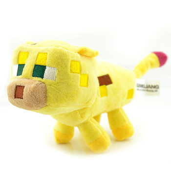 Minecraft Toys Genuine JJ Dolls Stuffed Plush Toys Minecraft Ocelot Plush Toys Yellow 24CM Children Brinquedos Christmas Gifts(China (Mainland))