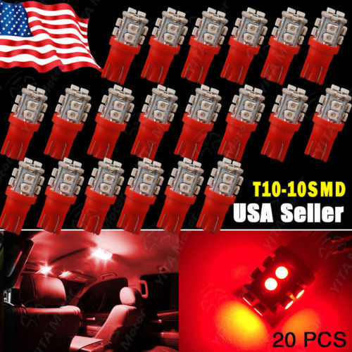 Free Shipping Car LED 20pcs/lot Red T10 1210 W5W Wedge 10SMD INTERIOR Door Dome SIDE Light 2825 158 168 led Car Light Source -B(China (Mainland))