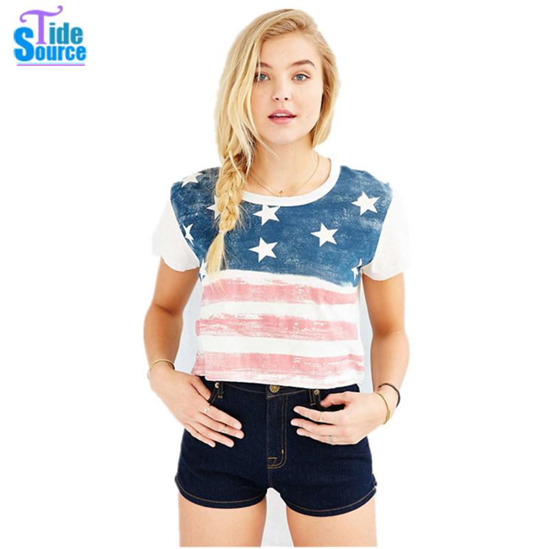 2016 Western Vintage The Stars and Stripes Printed T Shirt Women Tops Summer Style Loose Casual O-Neck Short Sleeve Crop Top(China (Mainland))