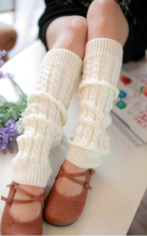 Twist Loose Wool Knee Socks Knee pad Leg Warmer Fashion Piles of Socks Boots Sets Women knitted Sock Free Shipping(China (Mainland))