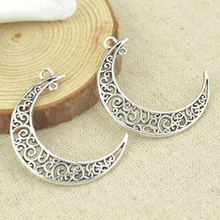 Buy 10 pcs 40*34 mm Antique Tibetan Silver Charms Bracelet Necklace Pendant New Fashion Alloy charm moon 2348 for $1.29 in AliExpress store