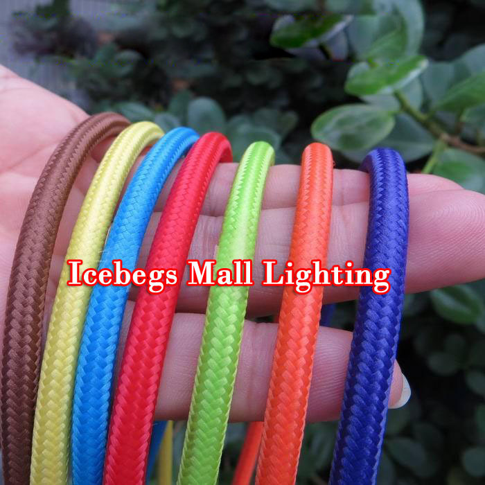 5m/lot 2x0.75 Color Wire Lamp Cable Retro Braided Electrical Wire Copper Fabric Wire DIY pendant lamp wire vintage lamp cord(China (Mainland))