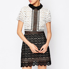 2016 European women's spring self brand *portrait with black and white lace stitching Lapel waist dress