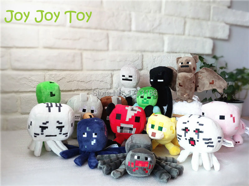 15 styles My World Minecraft Creeper Enderman Skeleton Zombie Ghost Doll Wolf Animals Sheep Spider Stuffed Plush Toys(China (Mainland))