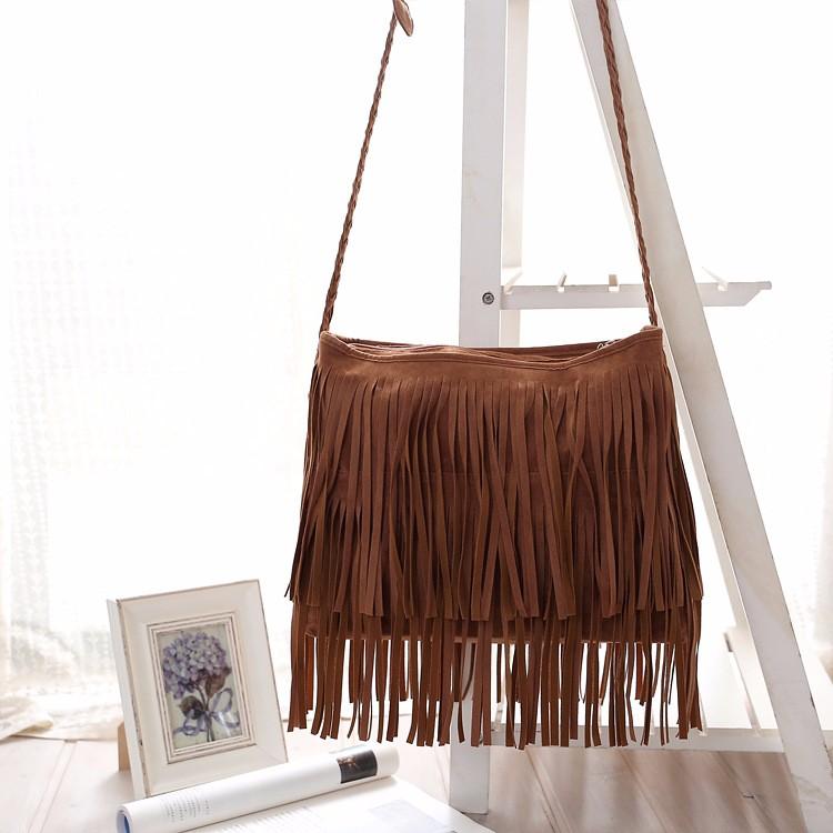 Hippie Suede Fringe Tassel Messenger Bag Women Hobo Shoulder Bags Crossbody Handbag (8) -