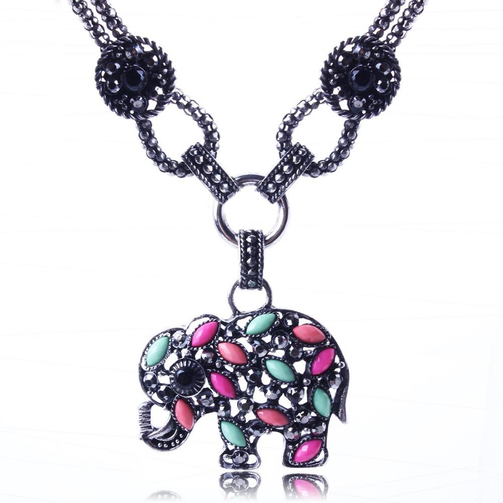 New Fashion Hot Selling Resin Pendant Necklace Elephant Vintage Jewlery Wholesale Price XL5591