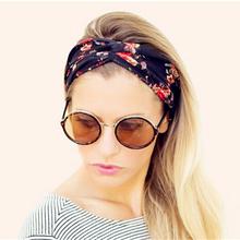 Fashion Women Wide Turban Headband Multicolored Flower Cross Elastic Headbands for Women HG144(China (Mainland))