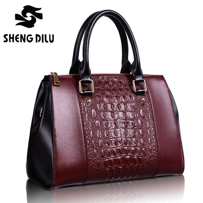 Women Genuine Leather Bag Crocodile Pattern Patchwork Designer Handbags Luxury Brand Ladies Shoulder Messenger Bags<br><br>Aliexpress