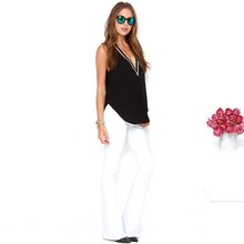 2015 summer New Sexy Deep V Neck Women T shirt Tops Basic Tees women sleeveless back