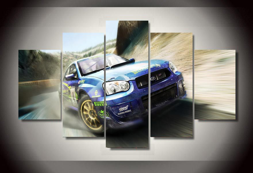 5 Pieces/set Wall Art Racing car Picture Printed Canvas Painting Room Decor print Poster Picture Canvas Painting Frameless(China (Mainland))