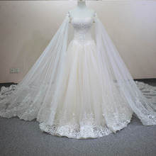 100% Same as Picture Handmade Luxury Crystals Beading Detachable Veil Customized Size Champagne Wedding Dress Lace 2016 WD0125(China (Mainland))