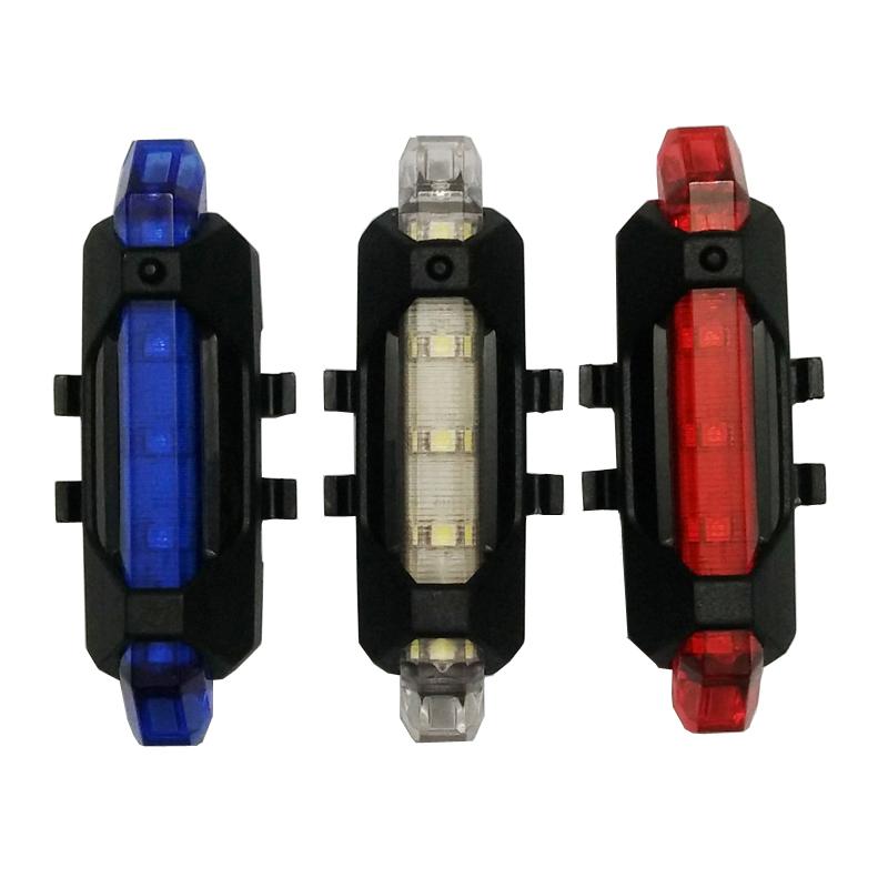 Waterproof USB Rechargeable Bike Light Flashing Night Rear Tail Flashlight Warning Cycling Bicycle 3 LED Lamp Sport Lighting
