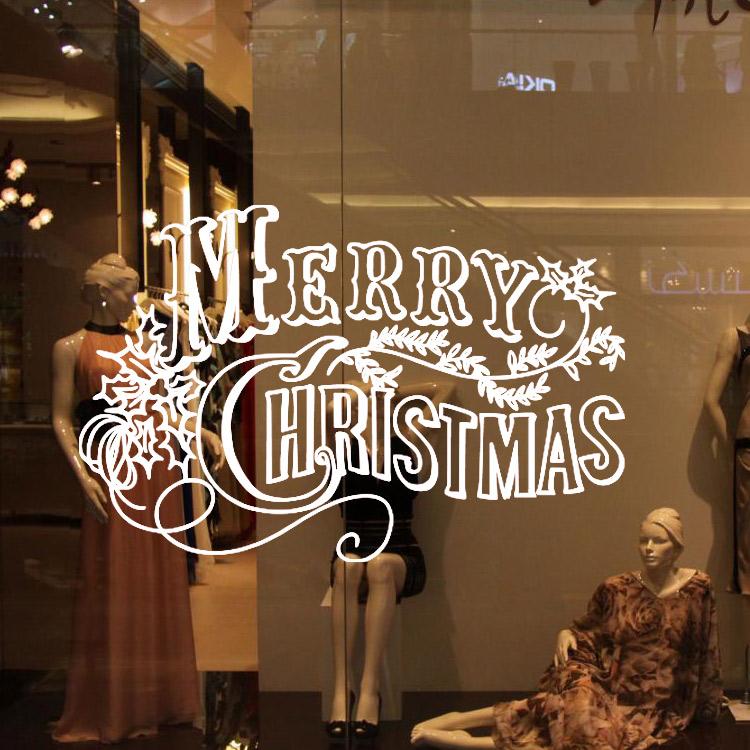 Wall Decor Sale Merry Christmas Wall Sticker Winter Shop Showcase Decoration Home 2016 New Year Fashion Diy Window Romantic(China (Mainland))