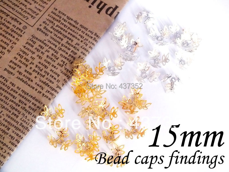 1000piece 15mm Silver/Gold plated Tone Metal Filigree flower bead caps jewelry findings<br><br>Aliexpress