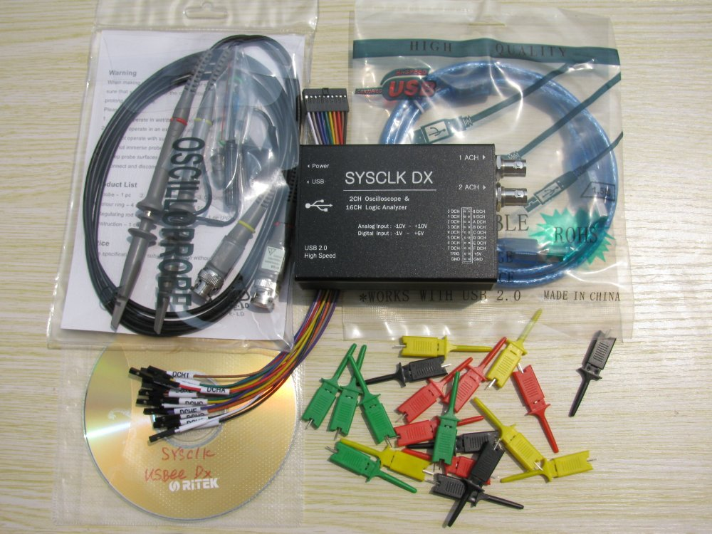 Гаджет  New arrival ! Sysclk  Dx, Mixed Signal Oscilloscope, Logic Analyzer Bus Analyzer+2 probe P6100+20 LA probes None Инструменты