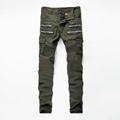 Mens Cargo Pants 2016 New Casual Autumn Slim Skinny Zipper Elastic Army Green Trousers Camouflage Army