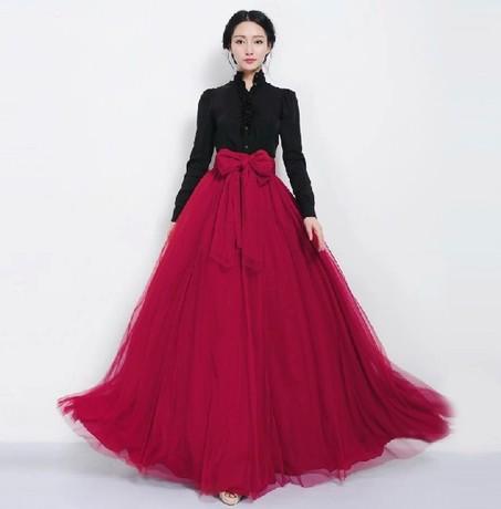 2016 women fashion Long Skirt Elegant Style Women Pastel Volume Candy Colour Pleated mesh Maxi ...