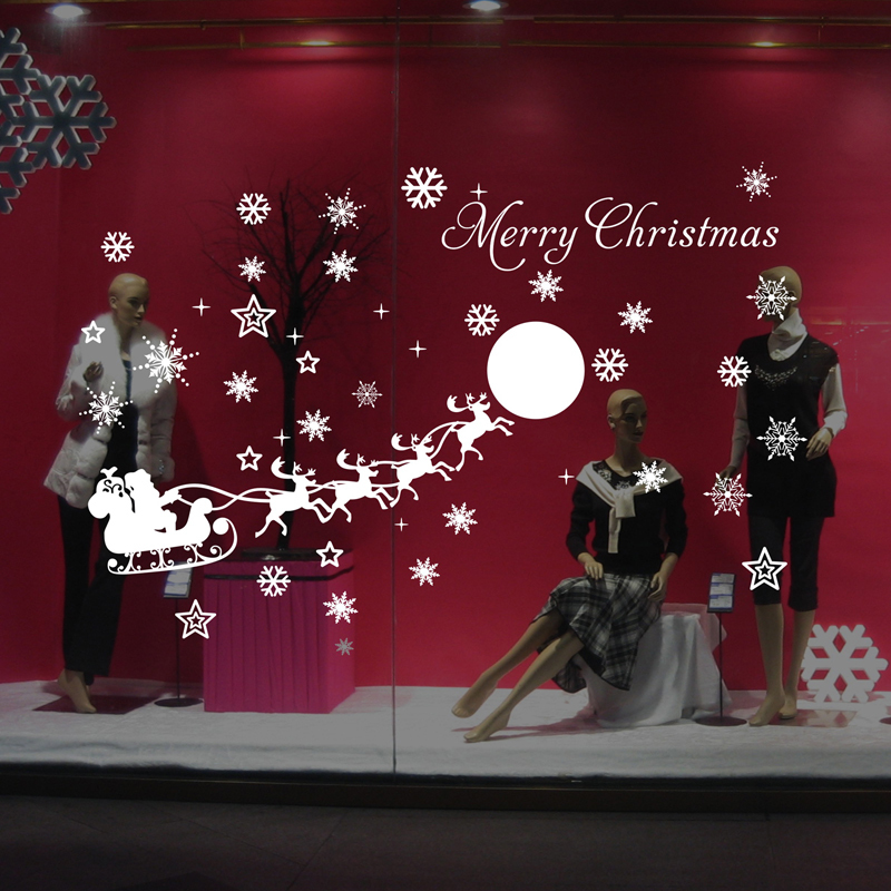 Christmas outdoor decoration cartoon stickers reindeer for Outdoor christmas wall decorations