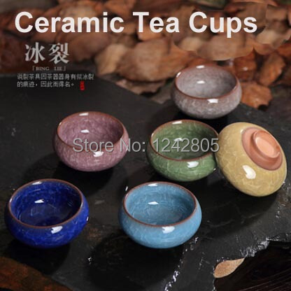 Promotion! 6pcs Ice-crackle porcelain tea cups set, Safe Package colorful Chinese ceramic tea cup(China (Mainland))