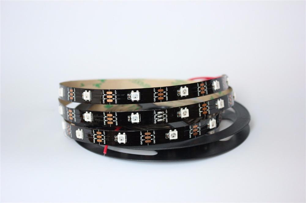 Non waterproof 5M Built-in WS2812B Black board LED strip,150 LED 150 pixel matrix LED strip,, Display DIY led strip(China (Mainland))