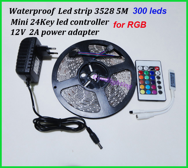 Waterproof led strip 300leds SMD 3528 DC12V safe strip lighting outdoor 5M with mini 24Key controller(for RGB) and power adapter(China (Mainland))