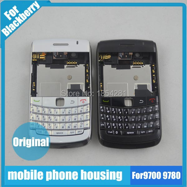 Original For BlackBerry Bold 9700 9780 Housing Cover Complete +Keypad +Side Button + Logo, White /Black support wholesale(China (Mainland))