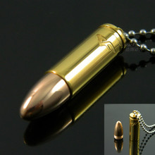 18K Gold Rose Gold Plated Bullet Pendant Necklace, Stainless Steel Letter Bullet Necklace, Fashion Logo Pendant(China (Mainland))