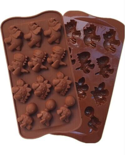 1PCS FDA 15 Hole Dinosaur Shape Silicone Mold, Jelly, Chocolate, Soap ,Cake Decorating DIY Kitchenware ,Bakeware L056(China (Mainland))