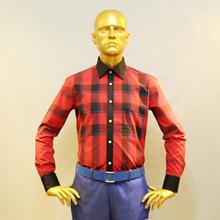 man s font b scotish b font red check cotton dress shirt contrast black collar and