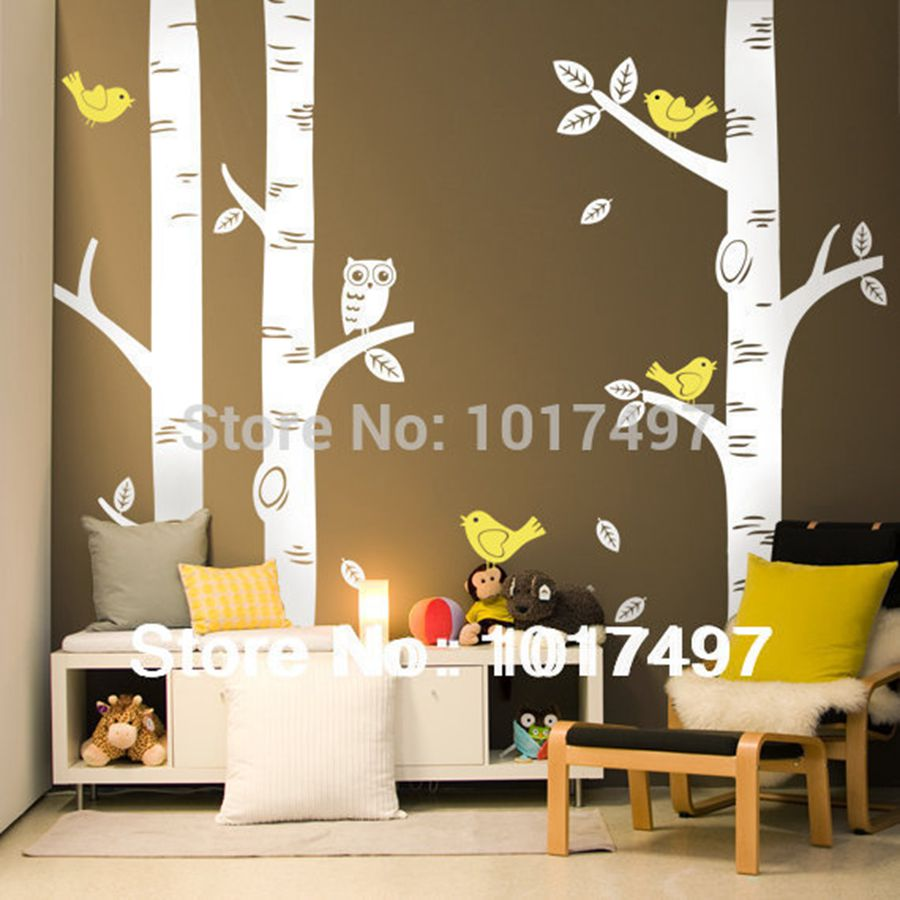 free shipping oversized birch tree wall decals for nursery bull oversize wall vinyl sticker ebay