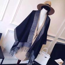 2014 New fashion solid black cashmere poncho blanket scarf designer high quality women winter warm shawl wraps hot sale(China (Mainland))