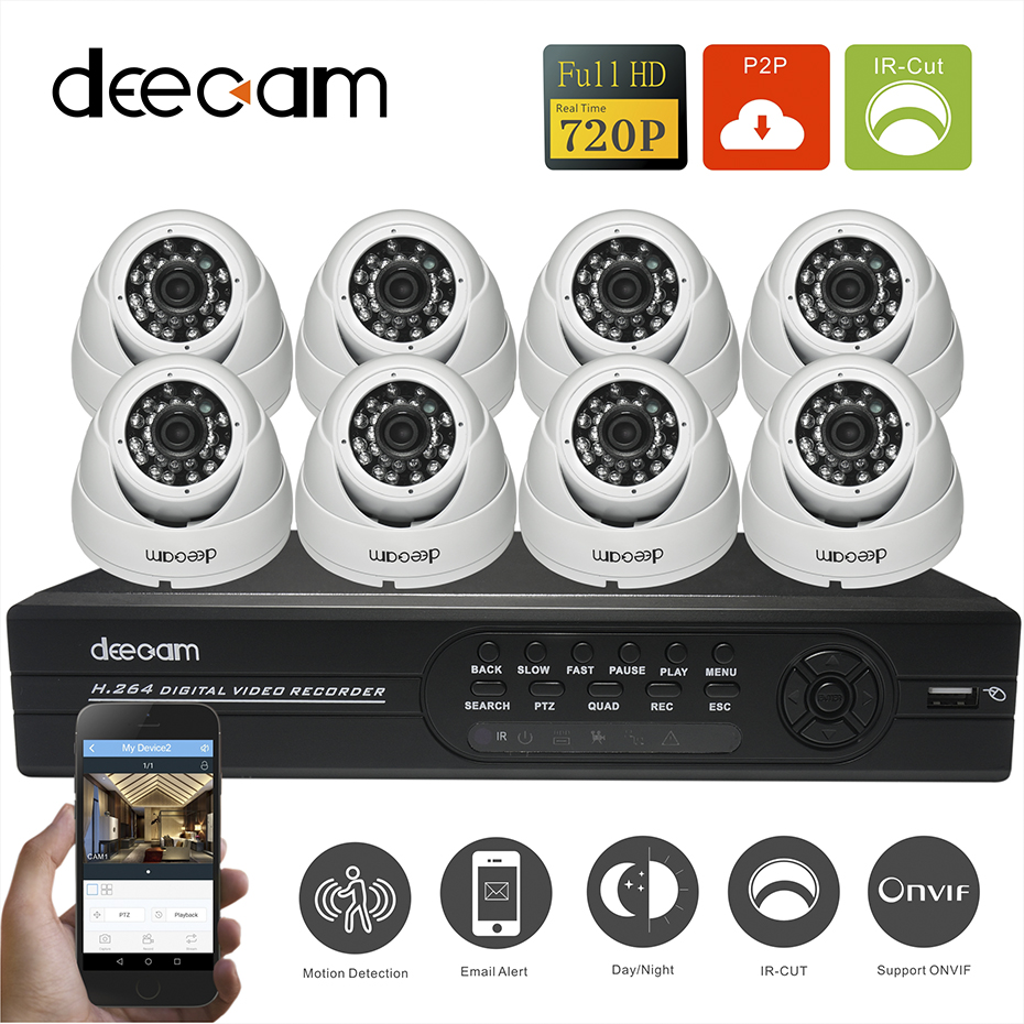 Deecam High Quality New HD 1200TVL 8CH 720P Realtime Record CCTV System AHD DVR Kit Security Camera Support 3G/4G Remote View(China (Mainland))