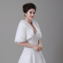 Free Shipping Half Sleeve Women Winter wedding faux fur jacket bolero wraps Bridal Coat Wedding Bolero Faux Fur Bridal Shurg(China (Mainland))