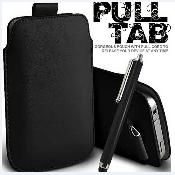 BLACK PULL TAB LEATHER POUCH CASE SKIN & STYLUS for BLACKBERRY Bold 9790(China (Mainland))